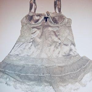 Victorias Secret Silk Corset Lace Nightie 36B